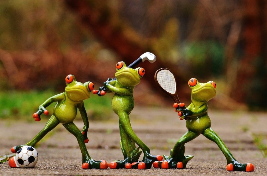frogs, athletes, soccer